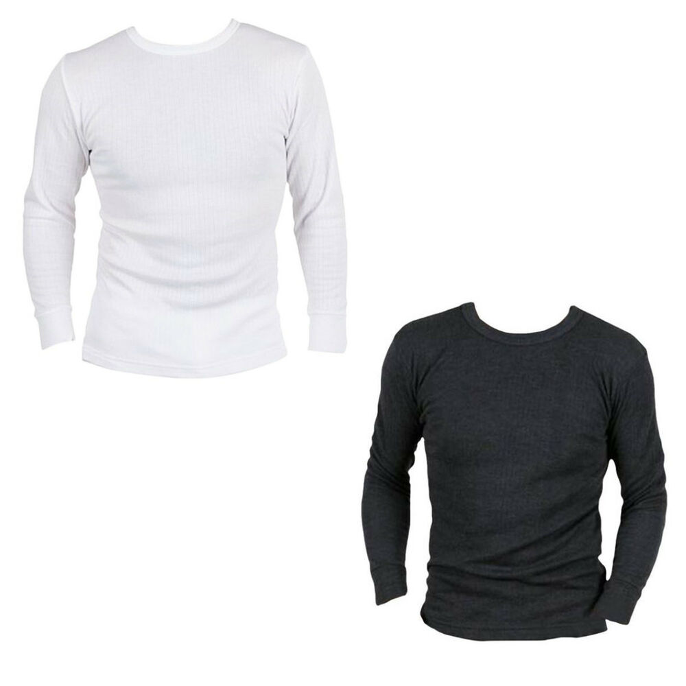 Mens thermal t shirt long sleeved warm vest underwear for White thermal t shirt