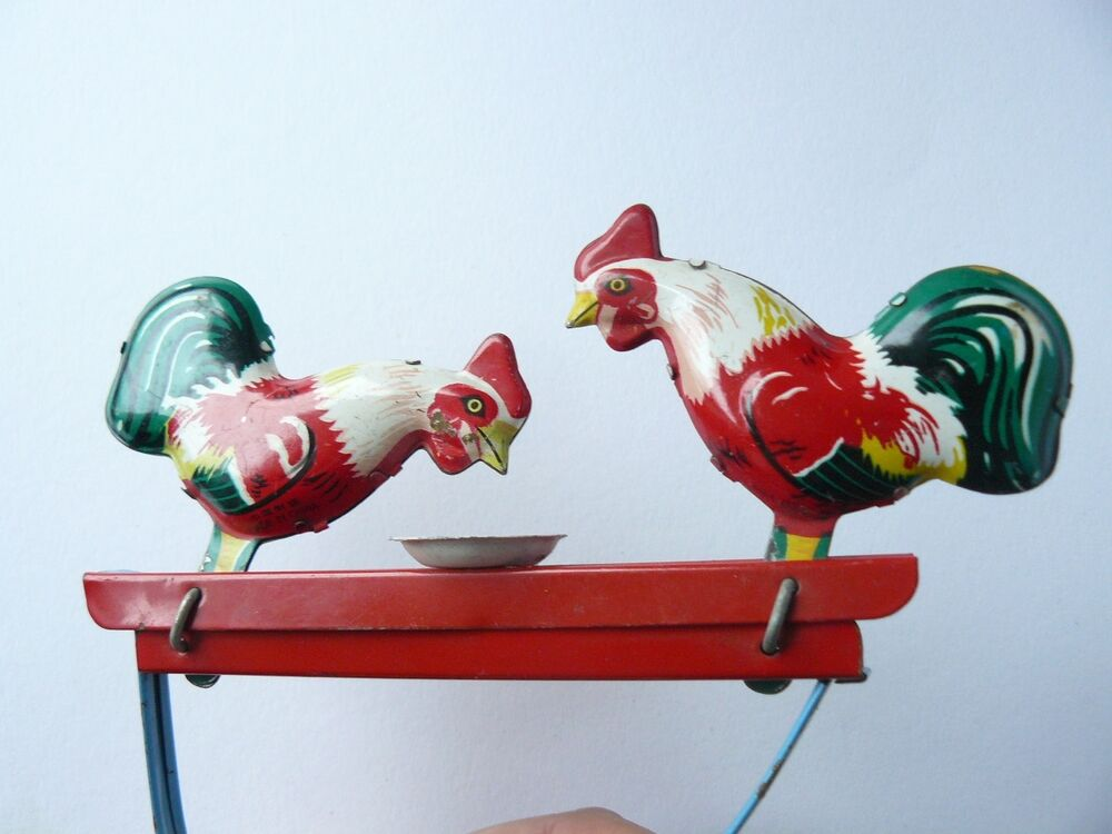 Toys For Chicks : Vintage china tin handle toy pecking chickens w bowl ebay