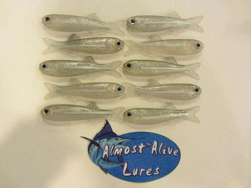 Soft bait bay anchovy rain fish 4 no hook almost alive for Striper fish bait