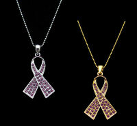PURPLE RIBBON BOW HONORS CAREGIVERS PANCREATIC CANCER AWARENESS PENDANT NECKLACE