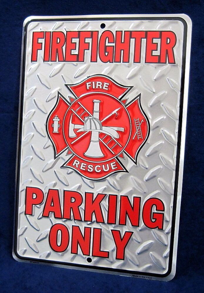 Firefighter Man Cave Signs : Firefighter diamond plate embossed tin sign garage game