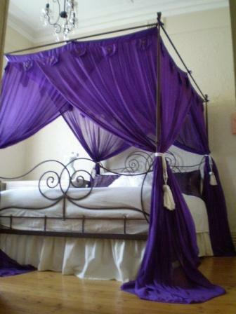 Balinese four poster bed canopy curtain mosquito net 185cmx205cm purple king ebay - Four poster bed curtains ...