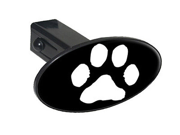 Paw print white on black quot tow trailer hitch cover