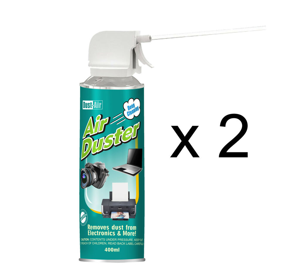 2 x 400ml compressed air duster cleaner can canned laptop. Black Bedroom Furniture Sets. Home Design Ideas