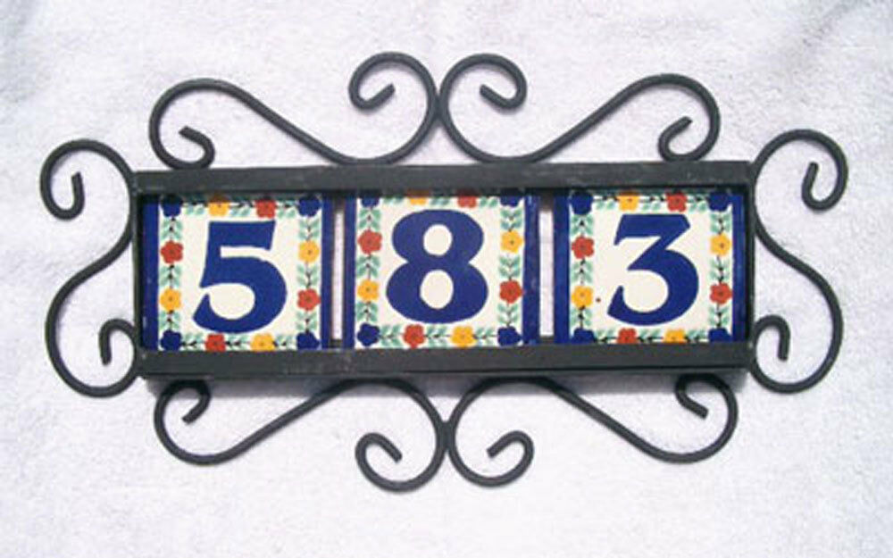 3 mexican 4x4 house numbers tiles with horizontal iron for House number frames