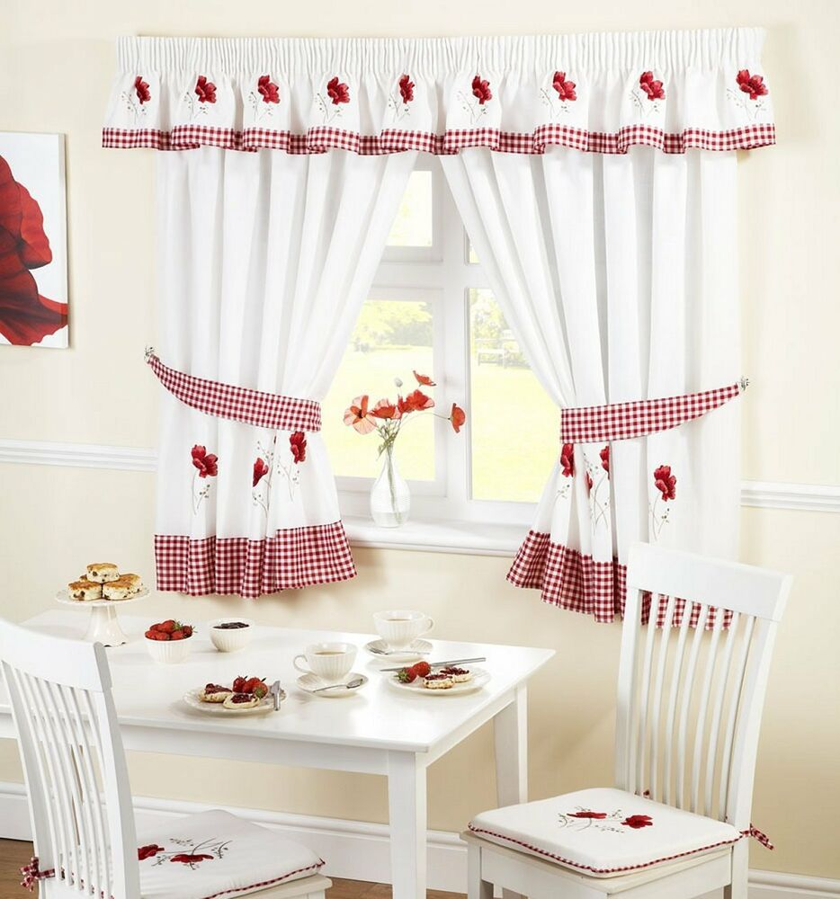 Poppie Kitchen Curtains In A Modern Embroidered Red Design