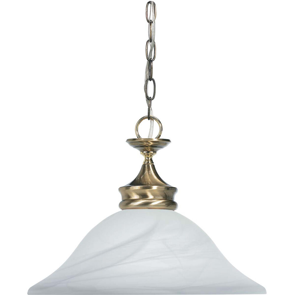 Antique Brass And Gold With Alabaster Glass Pendant