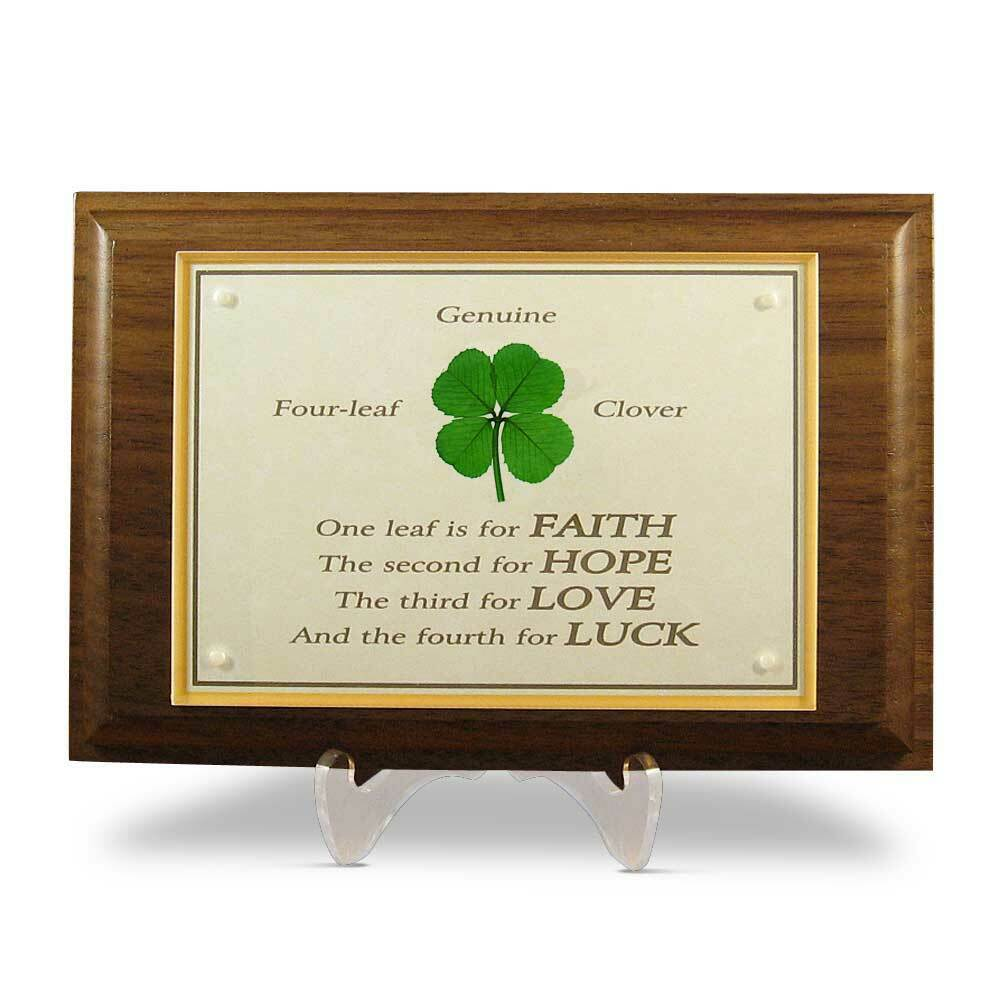 walnut plaque with a real four leaf clover item wn 4p ebay. Black Bedroom Furniture Sets. Home Design Ideas
