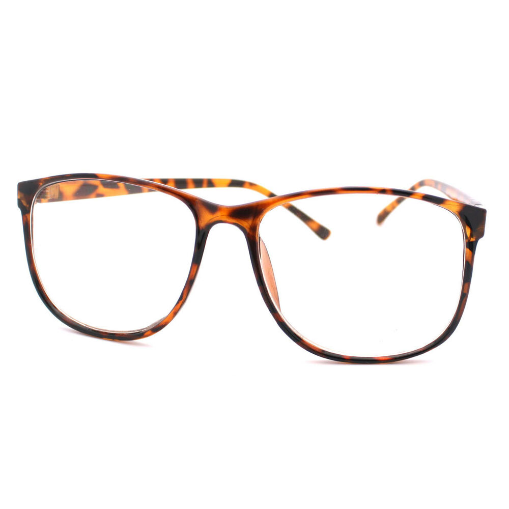 Tortoise Brown Large Nerdy Clear Lens Thin Horn Rim Geek ...