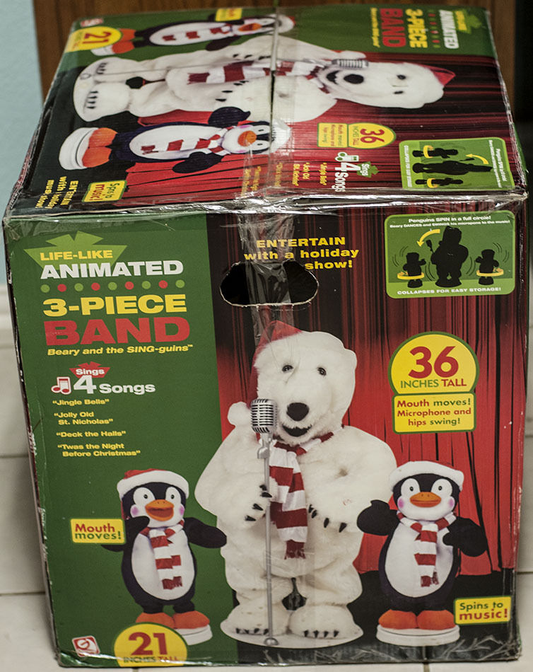 Gemmy animated singing dancing 3pc band polar bear for Animated polar bear christmas decoration