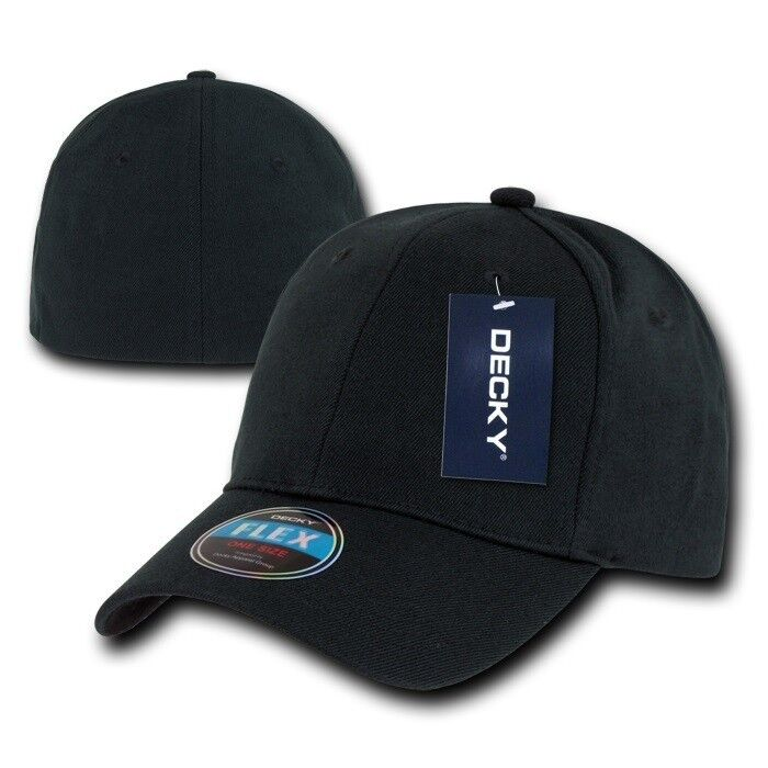Details about Black Plain Solid Blank Flex Baseball Fit Fitted Ball Cap Caps  Hat Hats OSFA 17ee9923350