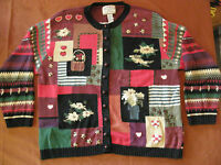 LOOK The UGLIEST ugly crazy tacky vintage CHRISTMAS party SWEATER   LT-2