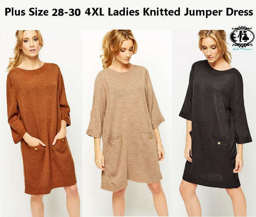4c378b2e26 LADIES PLUS SIZE 28-30 XXXXL KNITTED JUMPER DRESS KIMONO SWEATER SLOUCH  WARM TOP