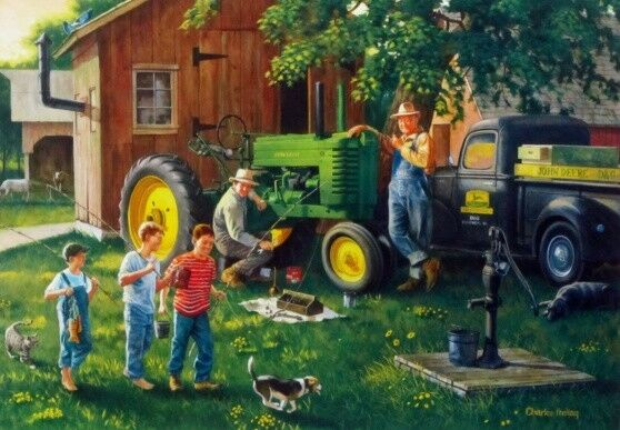 Farm Implement Pieces : Old time service john deere childern print by charles
