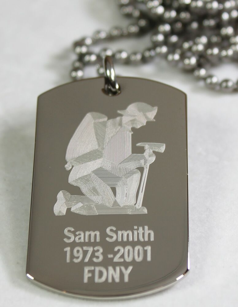 personalized firefighter dog tag necklace stainless steel. Black Bedroom Furniture Sets. Home Design Ideas