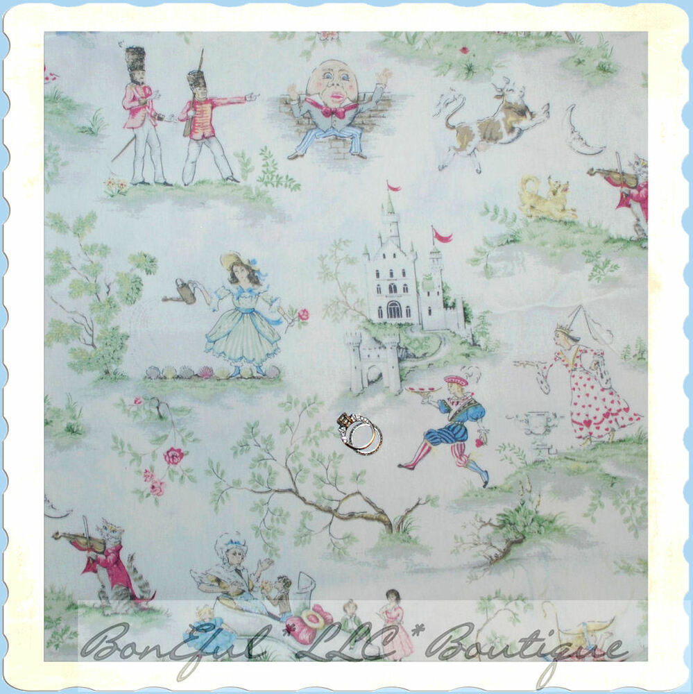 Boneful fabric fq cotton decor baby lg nursery rhyme toile for Decor 55 fabric