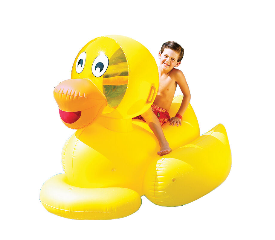 New Swimline 9062 Inflatable Swimming Pool Giant Ducky Ride On Floating Toy Raft Ebay