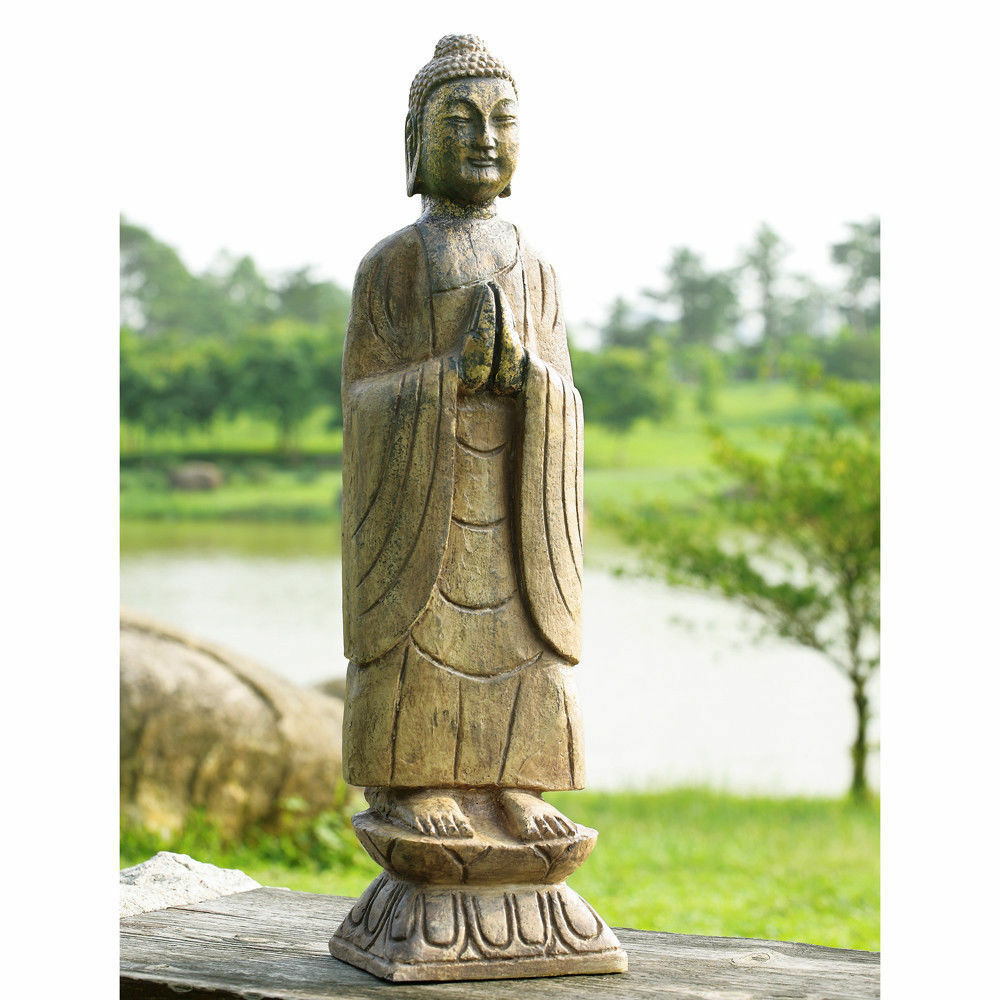 meditating buddha garden statue zen patio yard lawn sculpture decor outdoor 27 h ebay. Black Bedroom Furniture Sets. Home Design Ideas