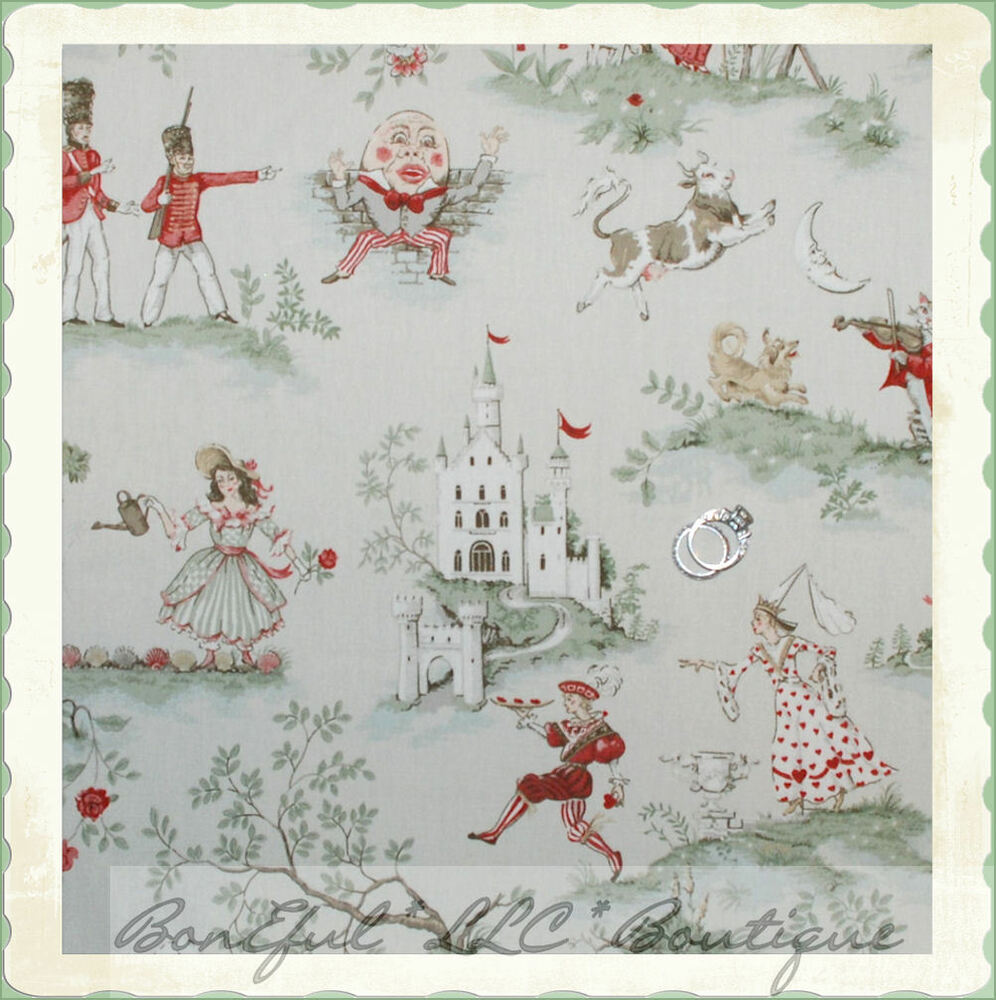 Boneful fabric fq cotton home decor nursery rhyme for Nursery fabric