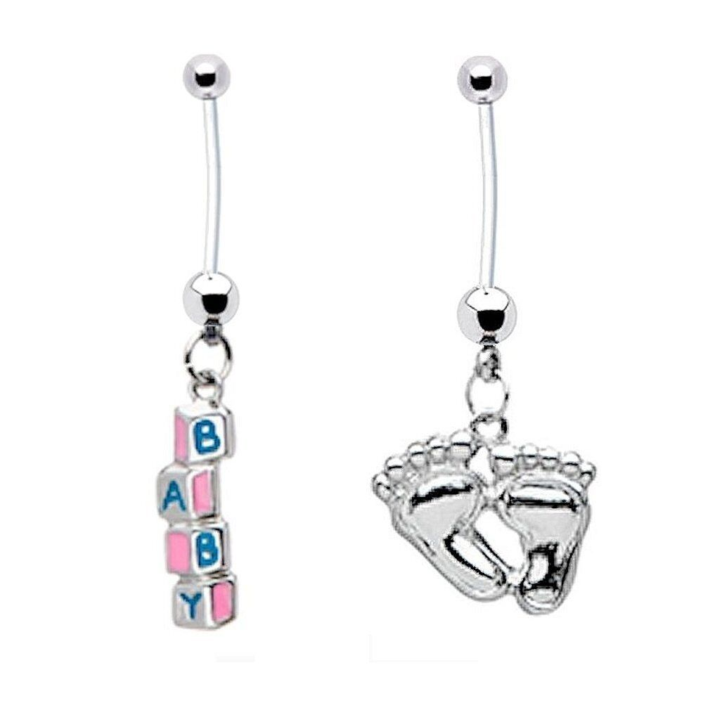 Pregnancy Belly Button Ring 2-pack BABY BLOCKS + BABY FEET ...