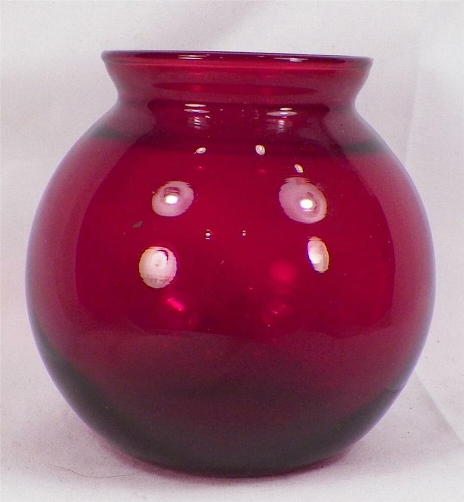 vintage royal ruby glass vase round ball shape anchor hocking mid century modern ebay. Black Bedroom Furniture Sets. Home Design Ideas