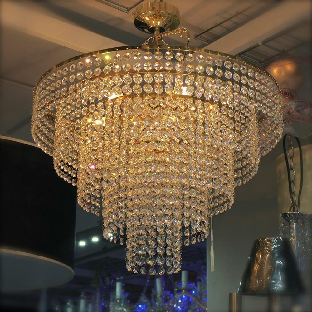 Gold Crystal Glass Chandelier Ceiling Light Sparkling
