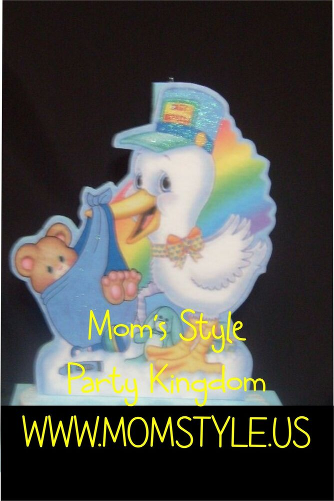 Stork baby shower party decoration for boy or girl ebay for Baby shower stork decoration