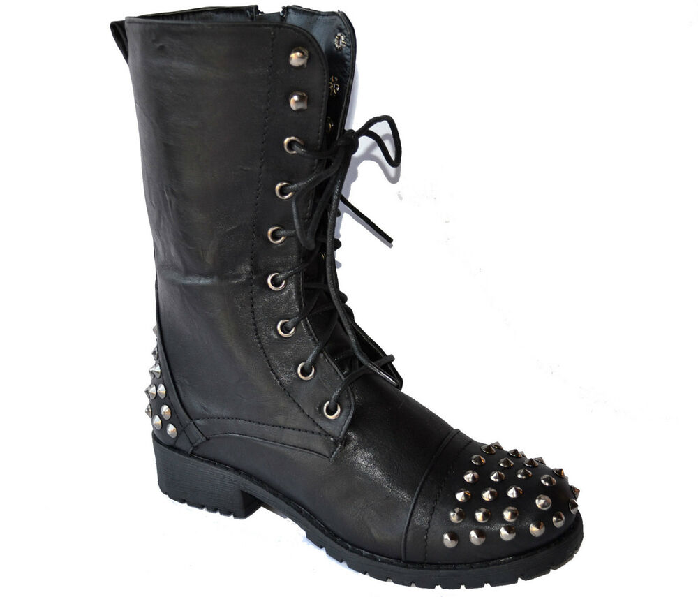 New Laurent Womens Black Leather Star Studded Army Combat Boots