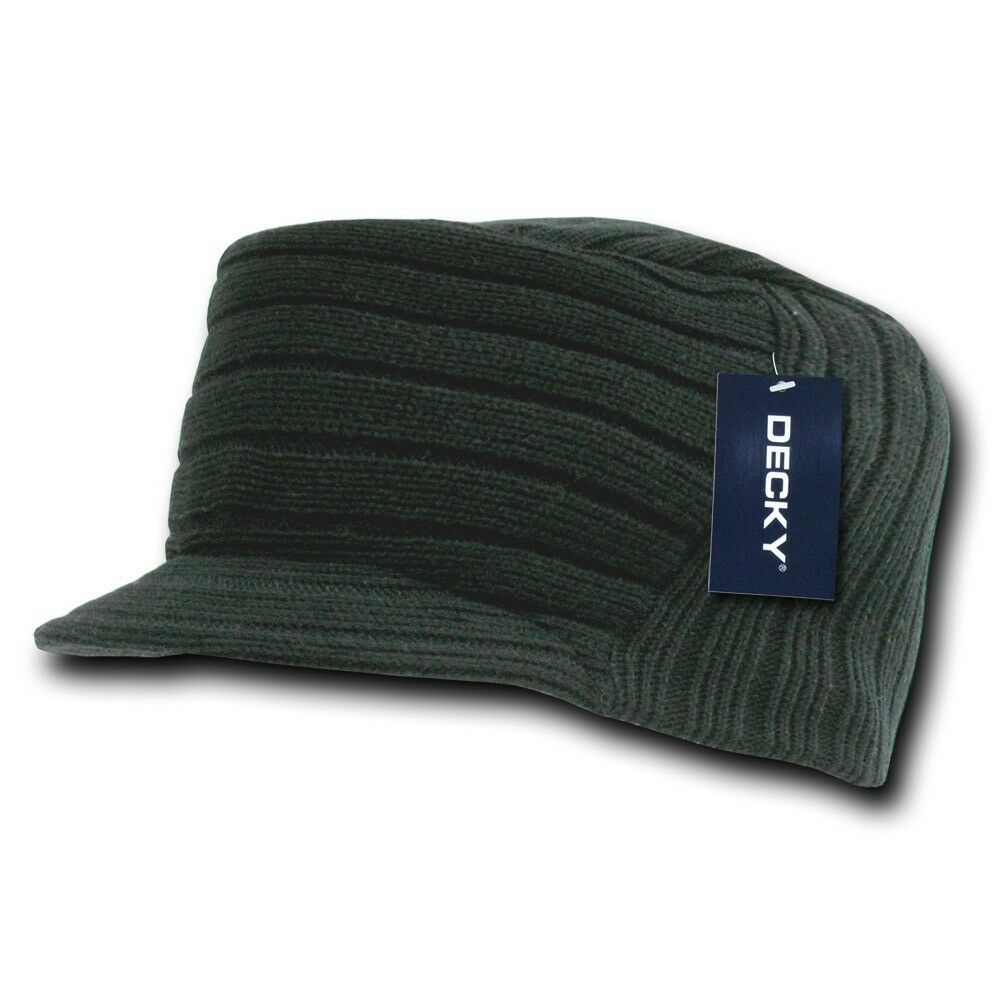 Black Knit Flat Top Visor Cap Hat Military Gi Army Cadet