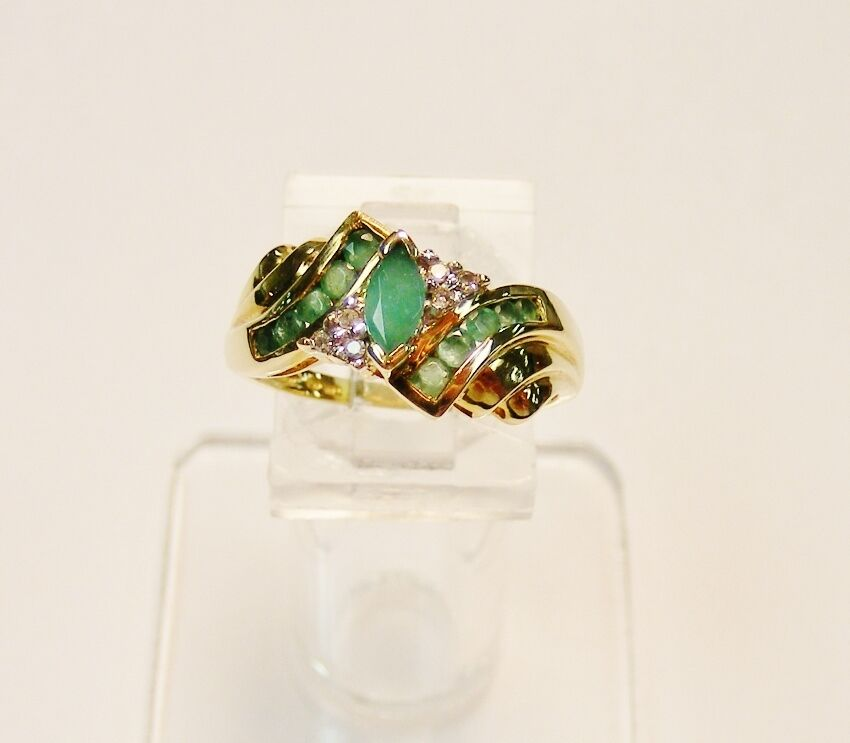 10k yellow gold 56cttw marquise cut emerald