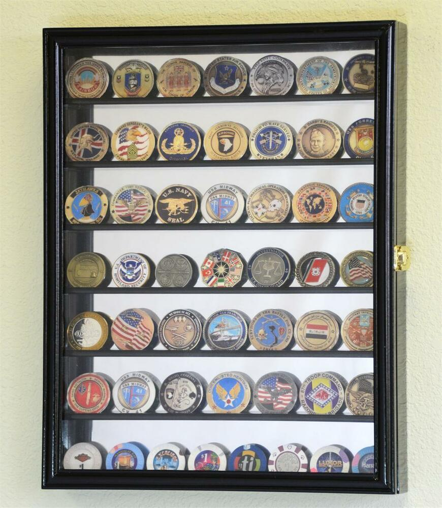 mirrored back 49 military challenge coin cabinet display. Black Bedroom Furniture Sets. Home Design Ideas