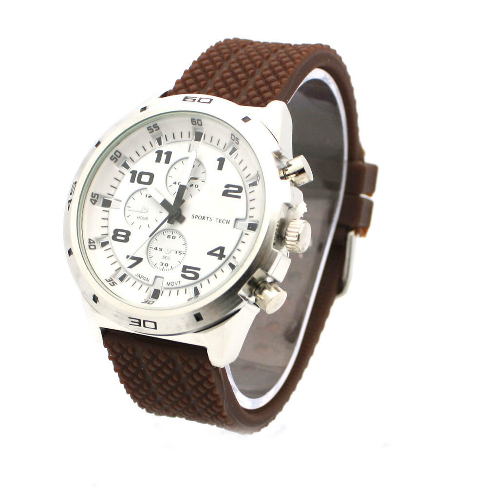 New silicone band mens fashion watch geneva design round brown silver ebay for Watches geneva