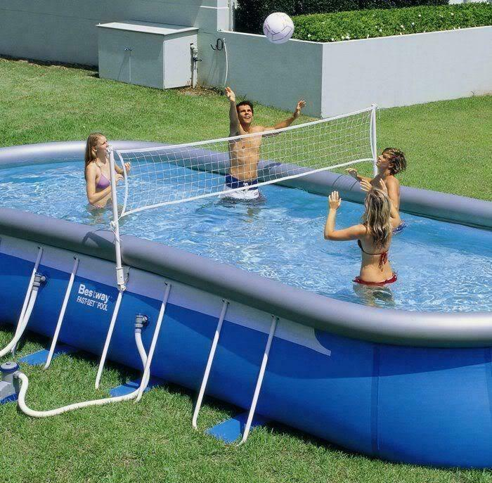 bestway pool toy volleyball set for 9 12 foot wide swimming pool ebay
