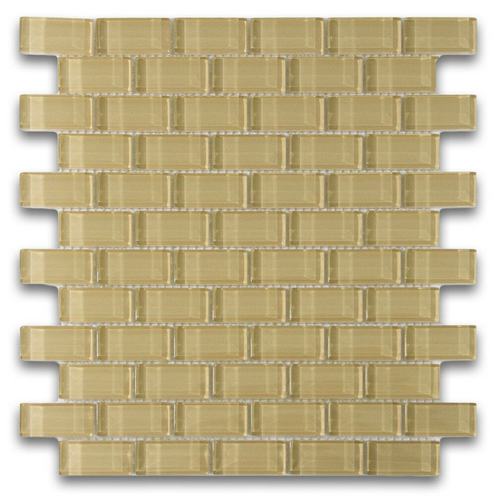 khaki 1x2 mini glass subway tile for backsplashes showers