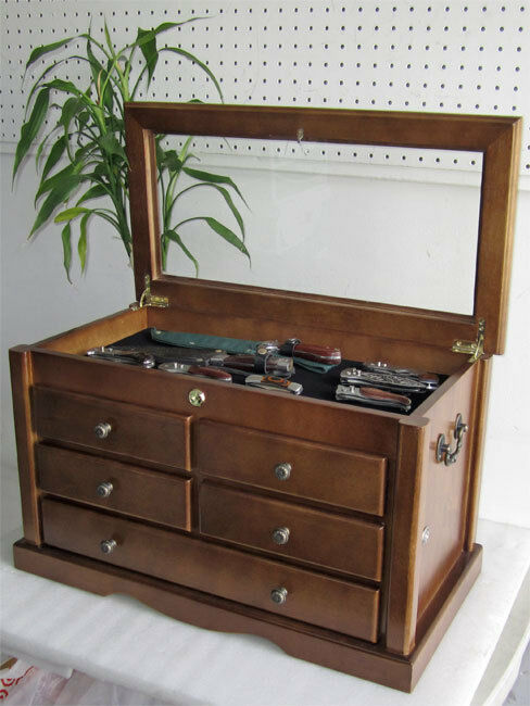 Knife Display Case Storage Cabinet With Shadow Box Top