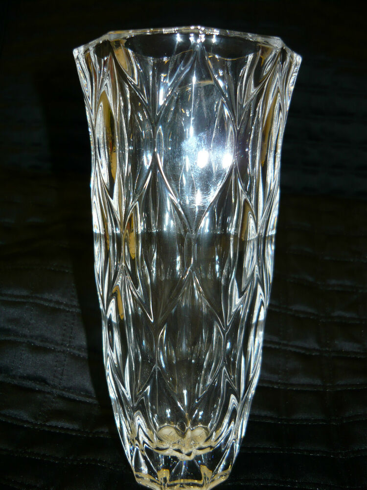 "Lenox Harlequin 7"" Crystal Bud Vase Diamond Shaped Cuts 