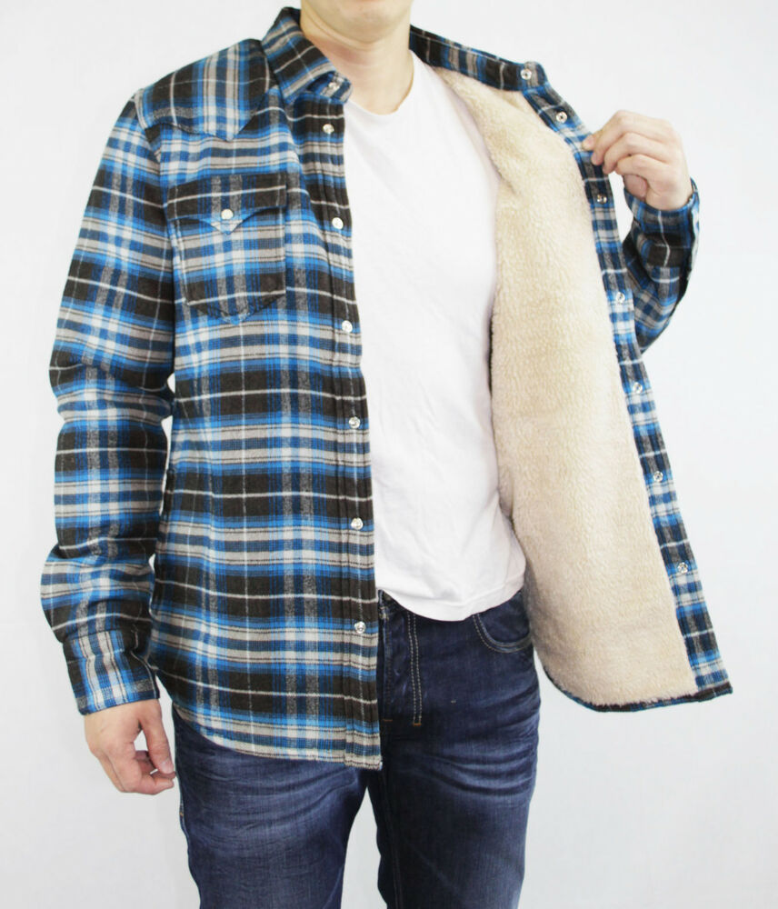 true religion brand jeans men 39 s black glacier blue plaid shirt w sherpa jacket ebay. Black Bedroom Furniture Sets. Home Design Ideas