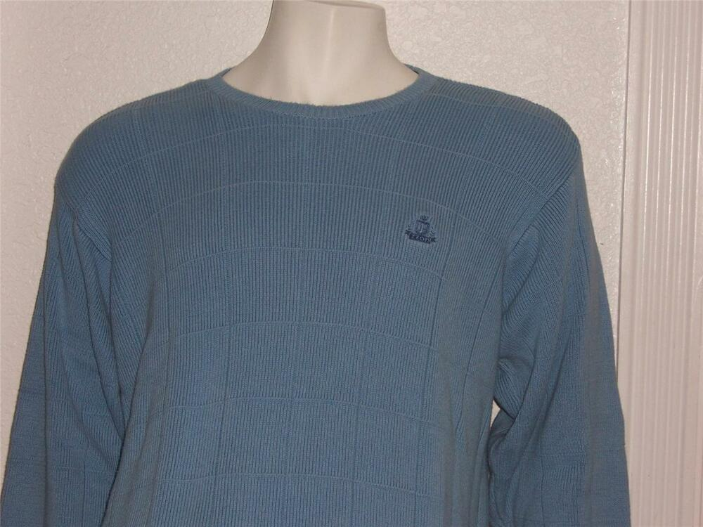 bd2572a0f Details about MENS IZOD SOFT BLUE CREWNECK PULLOVER SWEATER SIZE XL 100%  COTTON AWESOME LOOK