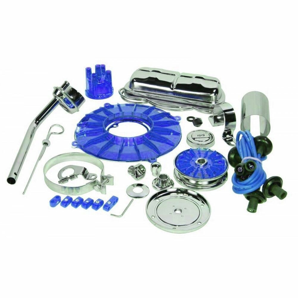 Electric Motor Kit For Volkswagen Beetle: EMPI Engine Trim Super Chrome / BLUE Dress Up Kit VW Bug