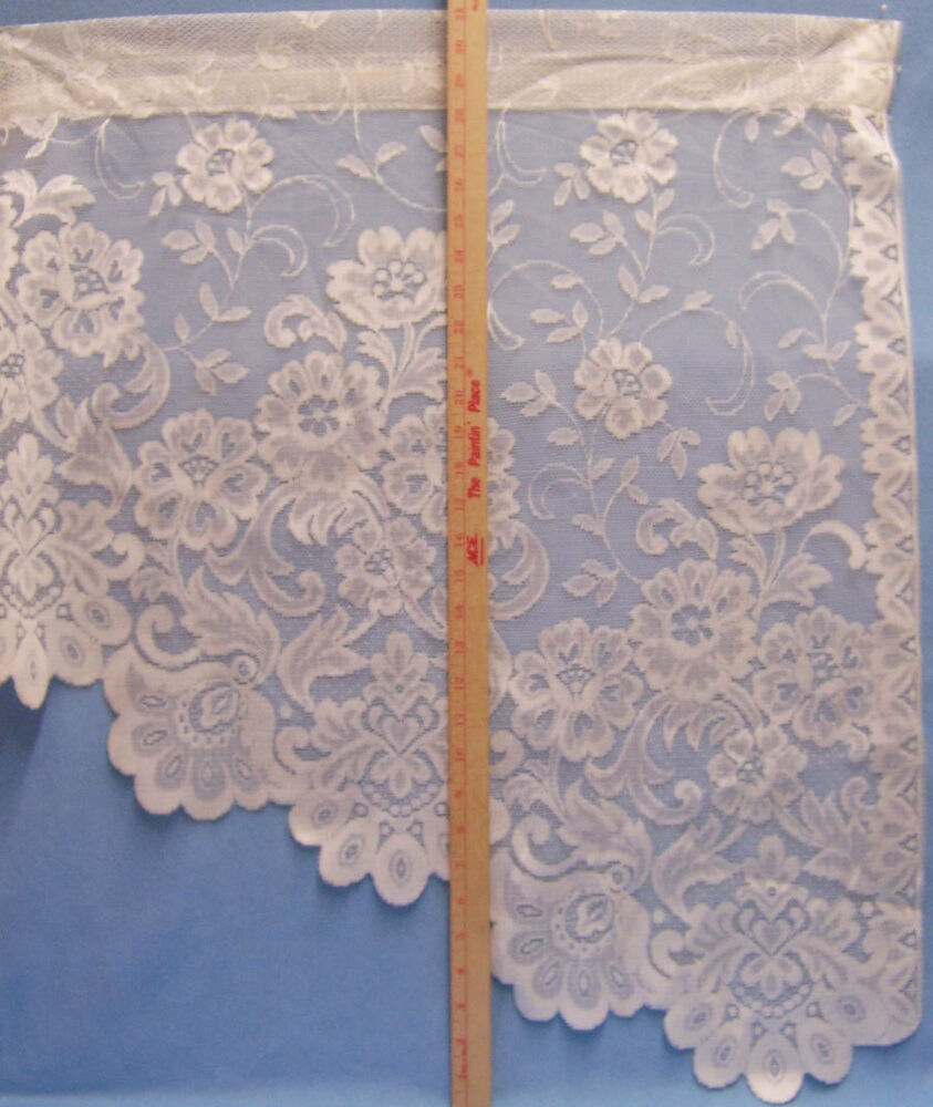Jc Penney Home Collection: 2 Right Side Cream Lace Curtain Panels Flower Pattern JC