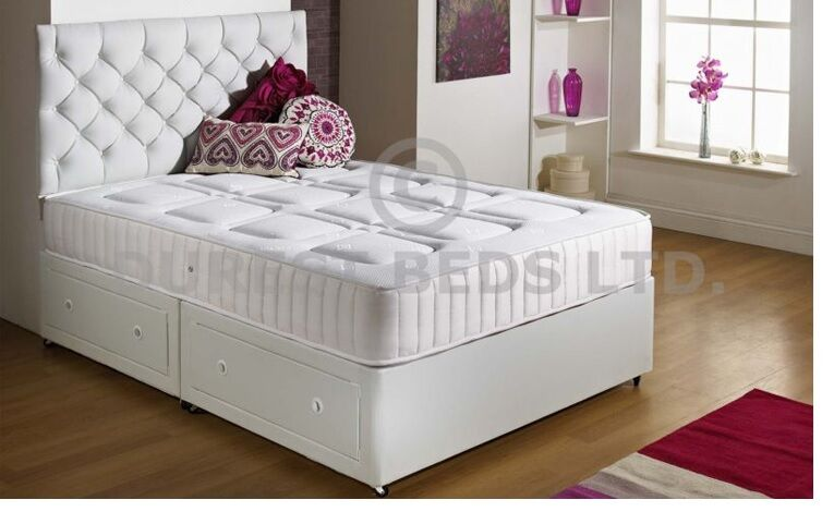 White quilted memory foam bed divan mattress sprung 4ft for Small double divan bed
