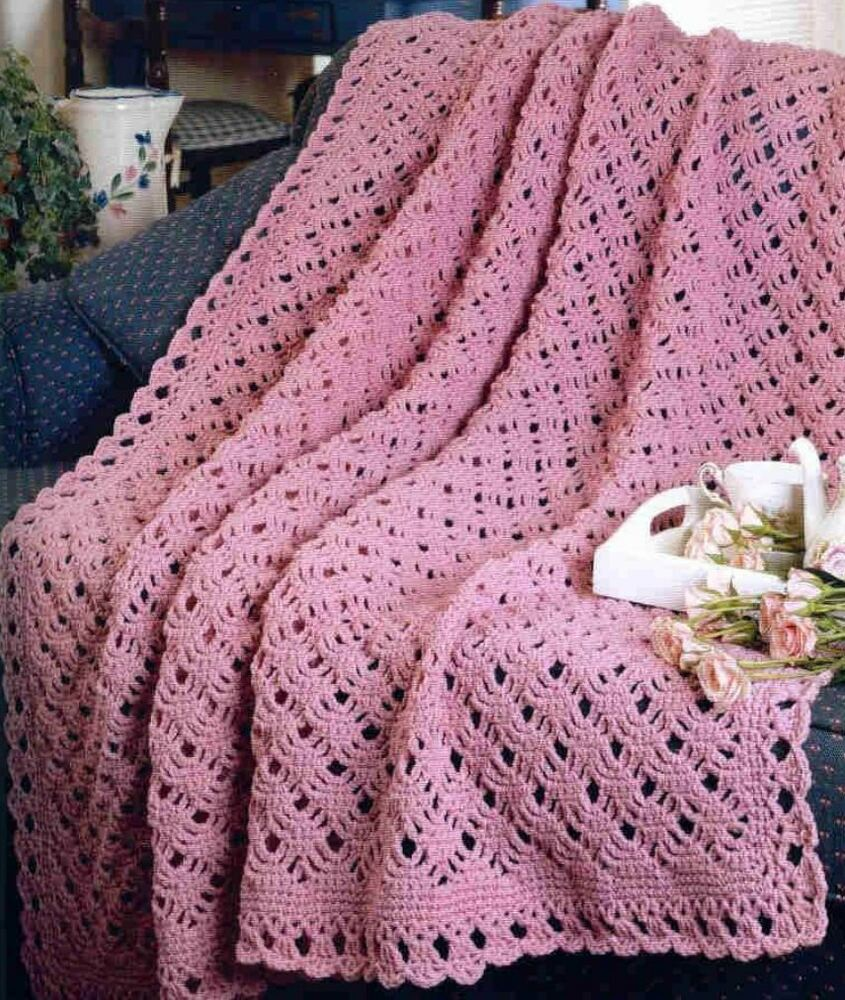 Crochet Pattern Afghan Blanket Throw Pretty Scallop eBay