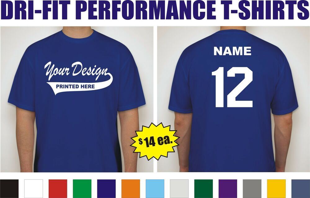 12 Custom Printed Dri Fit Moisture Wicking Baseball Team T