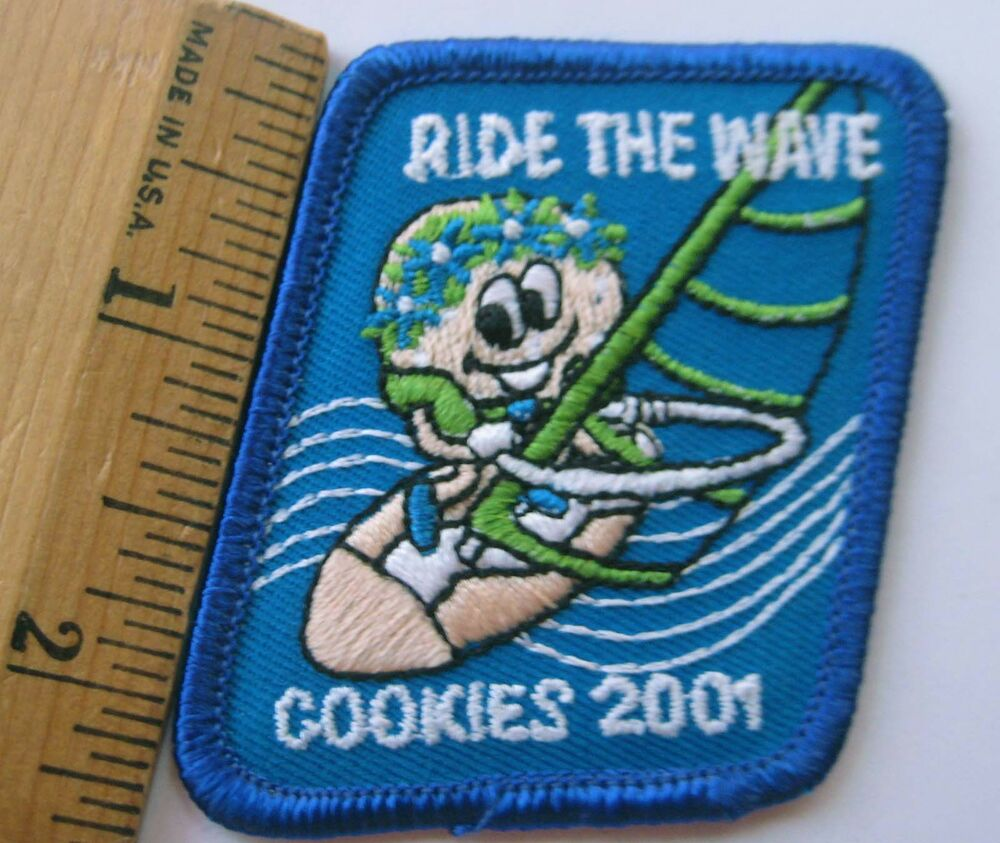 girl scout 2001 cookie sale patch ride the wave ocean wind