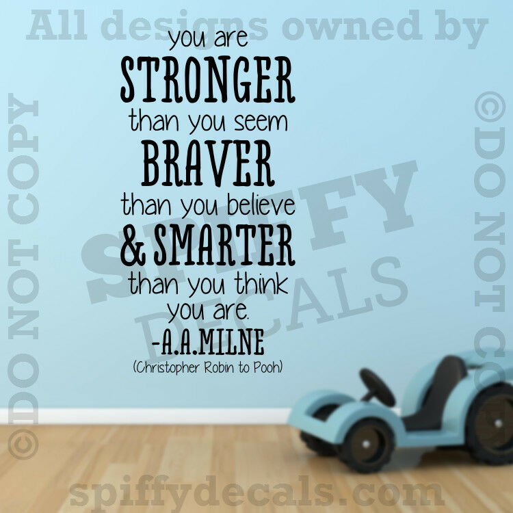 Winnie The Pooh Stronger Braver A A Milne Quote Vinyl