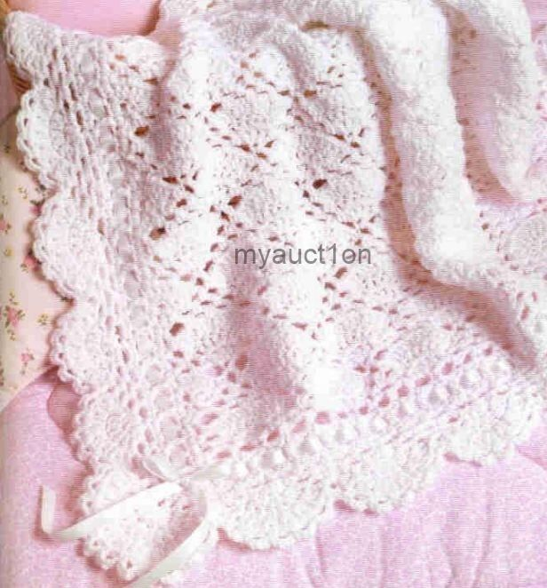 Free Crochet Pattern Lacy Baby Blanket : Crochet Pattern Baby Blanket Throw Fancy Lace eBay