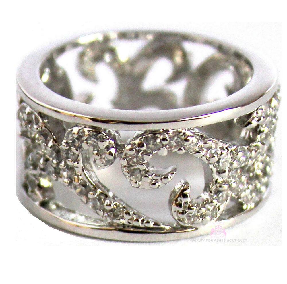 Filigree Ring Bands: Womens Silver Tone Classic Scroll Filigree Clear Cubic