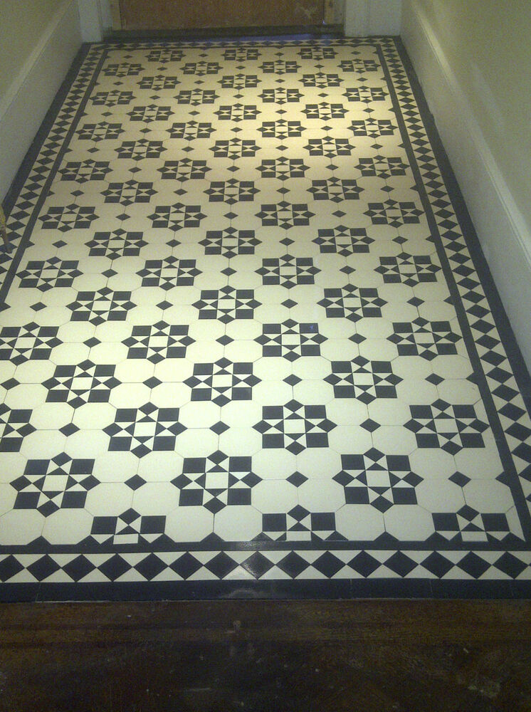 Victorian old english original style floor tiles katrine for Black and white laminate floor tiles