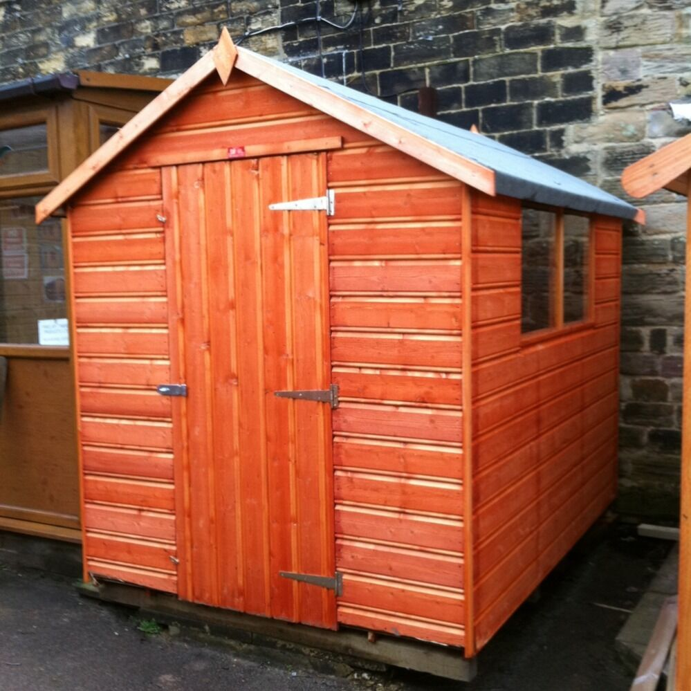 8x6 new garden shed quality very heavy duty 8ft x 6ft apex for Very small garden sheds