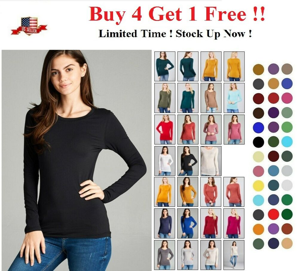New Women Crew Neck Long Sleeve Fitted Top Solid Stretch T
